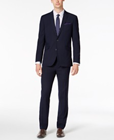Kenneth Cole Reaction Men's Slim-Fit Techni-Cole Stretch Navy Plaid Suit