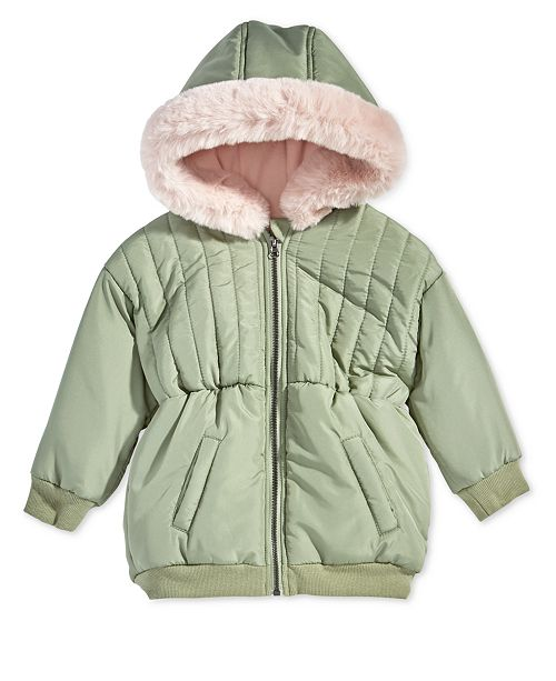 872a3fc4f1d7 First Impressions Baby Girls Hooded Parka with Faux-Fur Trim ...
