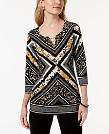 JM Collection Petite Toggle-Grommet Printed Top, Created for Macy's