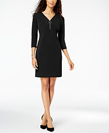 Zip-Neck A-Line Dress, Created for Macy's