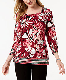 JM Petite Border-Trim Jacquard Top, Created for Macy's