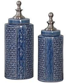 Uttermost Pero Sapphire Blue Urns, Set of 2