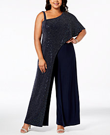 R & M Richards Plus Size Sequined-Drape Jumpsuit