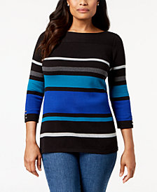 Karen Scott Petite Striped Cotton 3/4-Sleeve Sweater, Created for Macy's