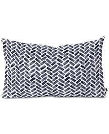 Little Arrow Design Co Arcadia Herringbone In Indigo Oblong Throw Pillow