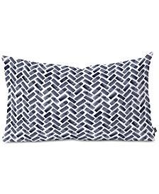 Deny Designs Little Arrow Design Co Arcadia Herringbone In Indigo Oblong Throw Pillow