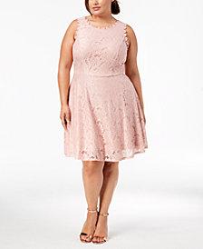 City Studios Trendy Plus Size Lace A-Line Dress