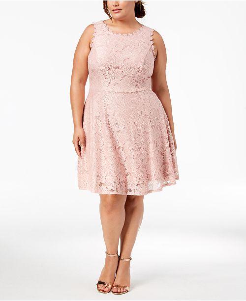 City Studios Trendy Plus Size Lace A-Line Dress & Reviews - Dresses ...