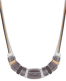 "Nine West Tri-Tone & Stone Triple-Chain Beaded Collar Necklace, 16"" + 2"" extender"