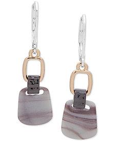 Nine West Tri-Tone & Stone Double Drop Earrings