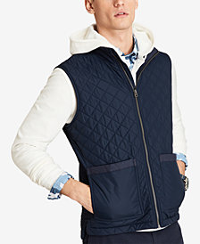 Brooks Brothers Men's Red Fleece Diamond-Quilted Full-Zip Vest