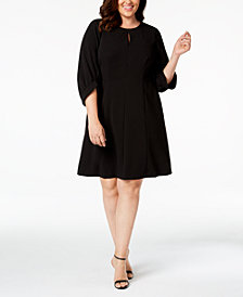 Calvin Klein Plus Size Balloon-Sleeve Keyhole Dress