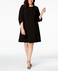 Calvin Klein Plus Size Balloon-Sleeve Keyhole Dress
