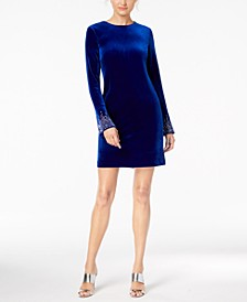 Petite Bling Bell-Sleeve Velvet Dress