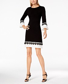 Lace-Trim Bell-Sleeve Sweater Dress
