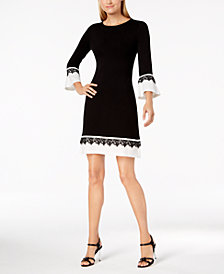 Calvin Klein Contrast Bell-Sleeve Sweater Dress