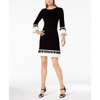 Calvin Klein Lace-Trim Bell-Sleeve Sweater Dress