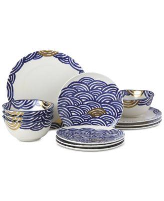 Lenox-Wainwright Pompeii Blu Sea 12-Pc. Dinnerware Set, Service for 4, Created for Macy's