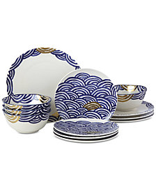 Lenox-Wainwright Pompeii Blu Sea 12-Pc. Dinnerware Set, Service for 4, Created for Macy's