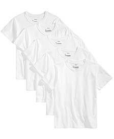 Little & Big Boys 5-Pk. Crew-Neck Tagless T-Shirts