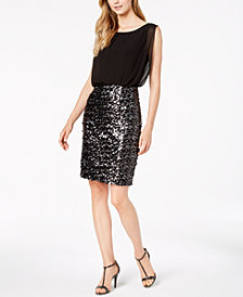 Calvin Klein Chiffon & Sequins Blouson Dress