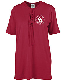 Royce Apparel Inc Women's Oklahoma Sooners Lace Up T-Shirt