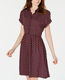 Be Bop Juniors' Printed Rolled-Sleeve Shirtdress