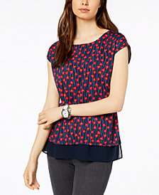 Tommy Hilfiger Printed Layered-Look Top, Created for Macy's