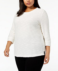 Karen Scott Plus Size Textured Sweatshirt Top, Created for Macy's