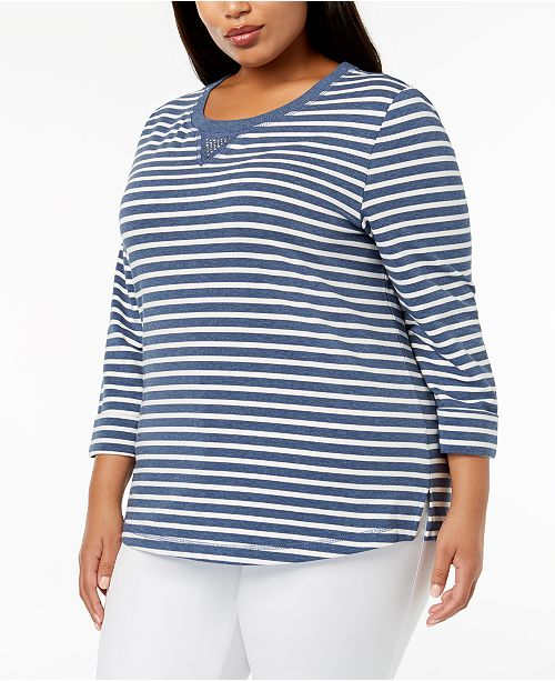 a2e826bf00c06 ... Karen Scott Plus Size French Terry Striped Sweatshirt, Created for  Macy's ...