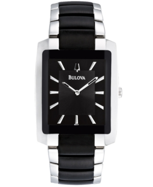Bulova Men's Black Plated Stainless Steel Bracelet Watch 35mm 98A117