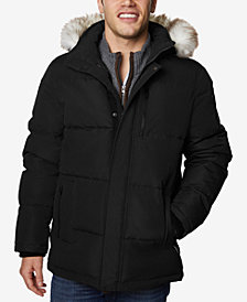 Halifax Men's Long Hooded Coat with Faux-Fur Trim