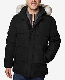 Halifax Men's Long Hooded Coat with Faux-Fur Trim