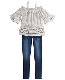 Epic Threads Big Girls Off-The-Shoulder Top & Jeans, Created for Macy's