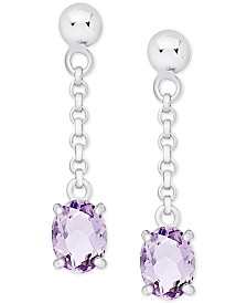 Amethyst Oval Drop Earrings (1-5/8 ct. t.w.) in Sterling Silver