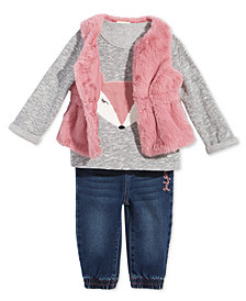 First Impressions Baby Girls Faux-Fur Vest, Fox Sweatshirt & Jeans, Created for Macy's