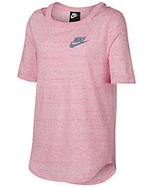Nike Big Girls Cold-Shoulder Logo-Print T-Shirt