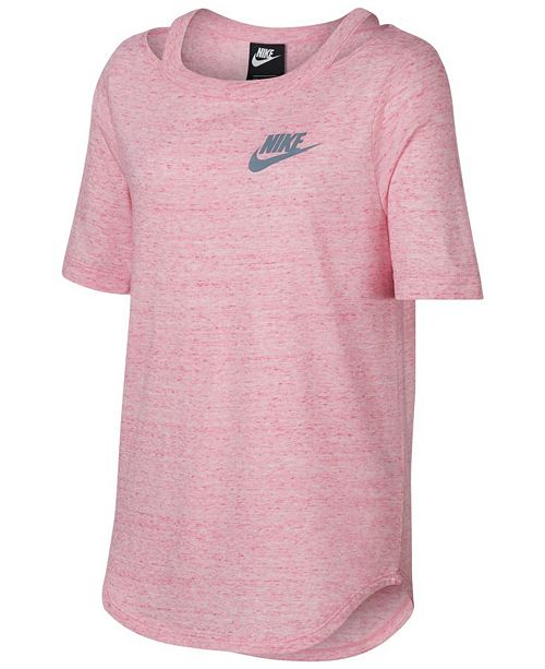 cf3f882149d91 Nike Big Girls Cold-Shoulder Logo-Print T-Shirt   Reviews - Shirts ...
