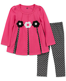Kids Headquarters Toddler Girls 2-Pc. Long-Sleeve Floral-Trim Tunic & Printed Leggings Set
