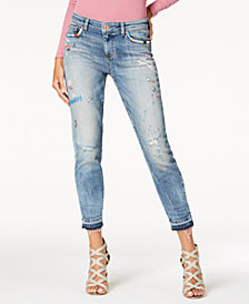 GUESS Cropped Graphic Skinny Jeans