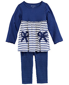 First Impressions Baby Girls Striped Bows Tunic & Textured Leggings, Created for Macy's