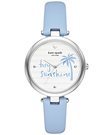kate spade new york Women's Blue Leather Strap Watch 36mm