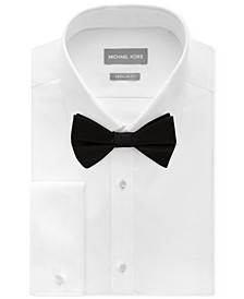 Men's Classic/Regular Fit Non-Iron Performance French Cuff Formal Dress Shirt & Pre-Tied Silk Bow Tie Set