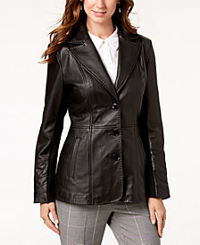 Jones New York V-Stitched Leather Jacket