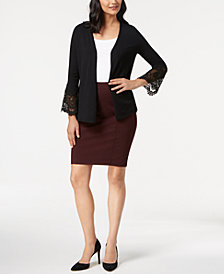 Alfani Lace-Inset Cardigan, Tank Top & Pencil Skirt, Created for Macy's