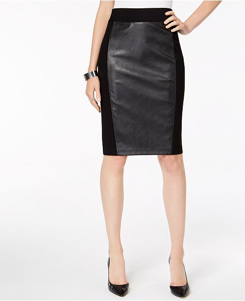 INC International Concepts INC Faux Leather Ponté-Knit Pencil Skirt, Created for Macy's