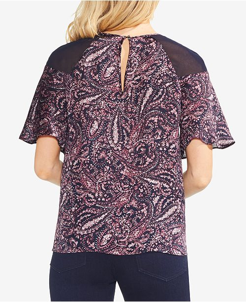 Shoulder Chiffon Navy Camuto Vince Classic Printed Top 8awxEH