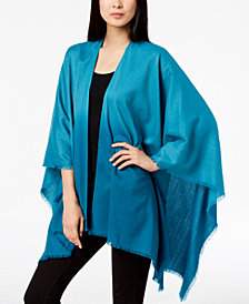 Eileen Fisher Silk Blend Fringed Poncho Scarf