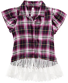 Beautees Big Girls Lace-Trim Plaid Shirt