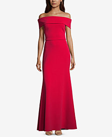 Betsy & Adam Petite Off-The-Shoulder Crepe Bustle Gown